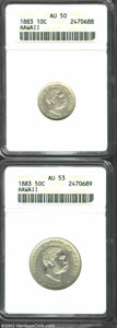 Coins of Hawaii: , 1883 10C Hawaii Ten Cents AU50 ANACS, cleanly struck, ...
