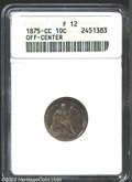 1875-CC 10C Mintmark Above Bow Dime--Off-Center--Fine 12 ANACS. Struck about 10% off center at 7 o'clock. Yellow-gray an...