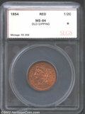 Additional Certified Coins: , 1854 1/2 C Half Cent MS64 Red Old Dipping SEGS. (MS63 Red ...