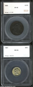 Additional Certified Coins: , 1803 1C Small Date, Large Fraction Cent VF35 SEGS (VF35), ...