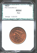 Additional Certified Coins: , 1837 1C Plain Cords, Medium Letters Cent MS64 Red PCI (MS63 ...