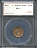 Additional Certified Coins: , 1860 1C Pointed Bust Cent MS62 SEGS (MS60). Snow-1. A few ...