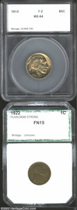 Additional Certified Coins: , 1922 No D 1C Cent Strong Reverse Fine 15 PCI (Fine 15), ...