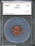 Additional Certified Coins: , 1926-S 1C Cent MS64 Red SEGS (MS64 Red and Brown). ...