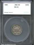 Additional Certified Coins: , 1880 5C Second 8/8 Nickel MS64 SEGS (MS63). Repunching is ...
