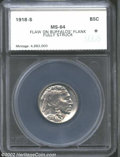 Additional Certified Coins: , 1918-S 5C Nickel MS64 Flaw on Buffalo's Flank, Fully Struck ...