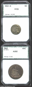 Additional Certified Coins: , 1921-S 5C Nickel VF25 PCI (Fine 15), silver-gray patina ...