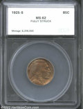 Additional Certified Coins: , 1925-S 5C Nickel MS62 Fully Struck SEGS (MS60 Cleaned). ...