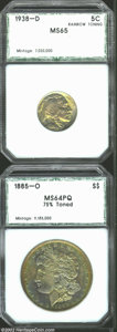 Additional Certified Coins: , 1938-D 5C Nickel MS65 Rainbow Toning PCI (MS65), lovely ...