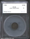 Additional Certified Coins: , 1794 H10C Half Dime VF20 Light Scratches SEGS (VF20 ...