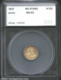 Additional Certified Coins: , 1837 H10C No Stars Half Dime MS63 SEGS (MS62). A suitable ...