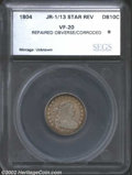 Additional Certified Coins: , 1804 10C 13 Stars on Reverse Dime VF20 Repaired Obverse, ...