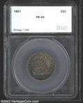 Additional Certified Coins: , 1861 25C Quarter PR64 SEGS (PR63 Questionable Toning). ...
