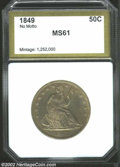 Additional Certified Coins: , 1849 50C Half Dollar MS61 PCI (MS60 Cleaned). WB-103. The ...