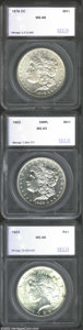 Additional Certified Coins: , 1878-CC $1 Morgan Dollar MS66 SEGS (MS64), well struck ...