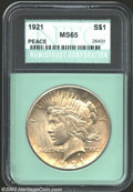 Additional Certified Coins: , 1921 $1 Peace Dollar MS65 Numistrust Corporation (MS64). ...