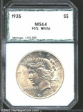 Additional Certified Coins: , 1935 $1 Dollar MS64 95% White PCI (MS63 Cleaned). Wispy ...
