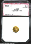 Additional Certified Coins: , 1854-S $1 Gold Dollar AU55 Scratched, Repaired Field PCI. (...