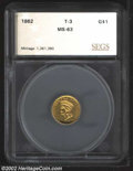 Additional Certified Coins: , 1862 $1 Gold Dollar MS63 SEGS. (MS60 Cleaned) Although ...