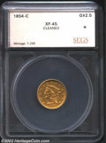Additional Certified Coins: , 1854-C $2 1/2 Quarter Eagle XF45 Cleaned SEGS. (XF40 ...