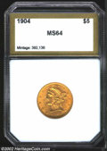 Additional Certified Coins: , 1904 $5 Half Eagle MS63 PCI. Bright, olive-gold toning. ...