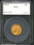 Additional Certified Coins: , 1913-S $5 Half Eagle MS63 SEGS (MS60 Reverse Cleaned). ...