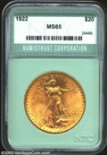 Additional Certified Coins: , 1922 $20 Double Eagle MS65 Numistrust Corporation (MS64). ...