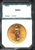Additional Certified Coins: , 1922 $20 Double Eagle MS65 PCI (MS64). An orange-gold ...