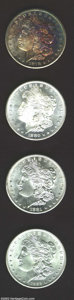 An Uncertified lot of Morgan Dollars that includes: 1878-CC MS64 Questionable Toning, 1878-CC MS66, brilliant, fully str...