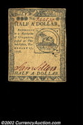 Colonial Notes:Continental Congress Issues, Continental Currency February 17, 1776 $1/2 About New. ...
