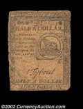 Colonial Notes:Continental Congress Issues, Continental Currency February 17, 1776 $1/2 Choice Fine. ...