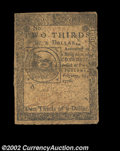 Colonial Notes:Continental Congress Issues, Continental Currency February 17, 1776 $2/3 Fine. An ...