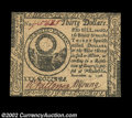Colonial Notes:Continental Congress Issues, Continental Currency November 2, 1776 $30 Choice New. It's ...