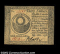 Colonial Notes:Continental Congress Issues, Continental Currency September 26, 1778 $30 About New. A ...