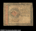 Colonial Notes:Continental Congress Issues, Continental Currency January 14, 1779 $4 Very Fine. Just ...