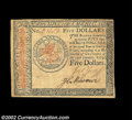 Colonial Notes:Continental Congress Issues, Continental Currency January 14, 1779 $5 Choice Extremely ...