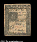 Colonial Notes:Delaware, Delaware January 1, 1776 4s Extremely Fine. A well ...