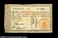 Colonial Notes:Georgia, Georgia 1776 $1 Orange Seal Very Fine. A very attractive ...