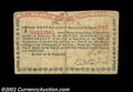 Colonial Notes:New York, New York August 25, 1774 1s Very Fine. An evenly ...