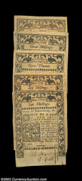 Colonial Notes:Rhode Island, Rhode Island May 1786 Group. Five different denominations ...