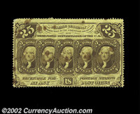 Three 25c First Issue Notes. Fr. 1280 Extremely Fine but stained, and a Fr. 1281 and a Fr. 1279 both of which grade Ab...