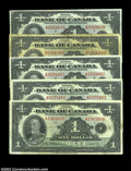 Canadian Currency: , BC-1 $1 1935 English Text. Five examples, all grading from ...