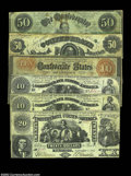 Confederate Notes:Group Lots, Six Early Confederate Type Notes.
