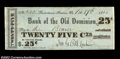 Obsoletes By State:Virginia, Rectortown Station, VA- Bank of the Old Dominion 25¢ Feb. ...