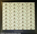 Error Notes:Mismatched Prefix Letters, Fr. 1911-A $1 1981 Federal Reserve Notes. Uncut Sheet of 32. ...