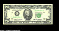 Error Notes:Skewed Reverse Printing, Fr. 2075-L $20 1985 Federal Reserve Note. Extremely Fine....