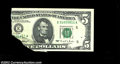 Error Notes:Foldovers, Fr. 1984-E $5 1995 Federal Reserve Note. Crisp Uncirculated....