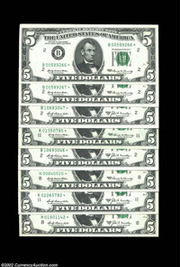 1969 and 1969A $5 Fed Stars $5 1969* Federal Reserve Notes. New York (consecutive pair), St. Louis, Dallas. Gem Crisp