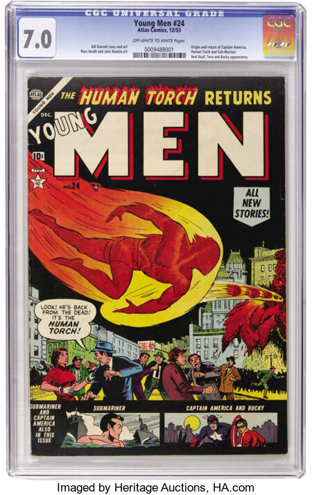 Young Men #24 (Atlas, 1953) CGC FN/VF 7.0 Off-white to white pages....