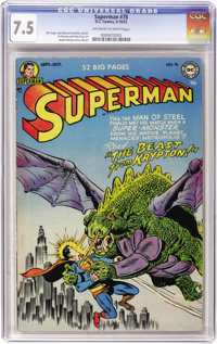 Superman #78 (DC, 1952) CGC VF- 7.5 Off-white to white pages